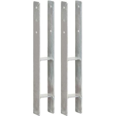 Anclajes de valla 2 uds acero galvanizado plateado 8x6x60 cm