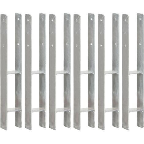 Anclajes de valla 6 uds acero galvanizado plateado 8x6x60 cm
