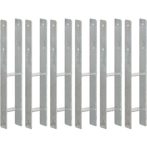 Anclajes de valla 6 uds acero galvanizado plateado 9x6x60 cm
