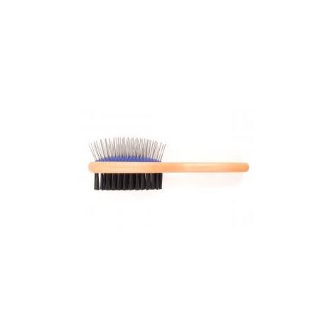 Ancol - Ancol Ergo Wooden Handle Double Sided Brush - sml