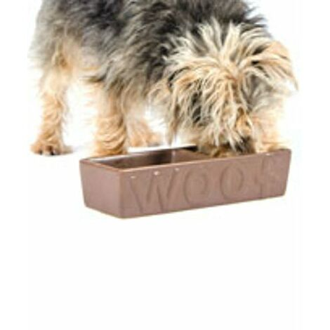 Ancol Gamelle double en ceramique Woof pour chien 25 cm Chocolat