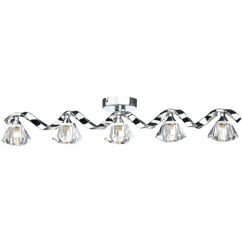 Image of Ancona ceiling light polished chrome and crystal 5 lights