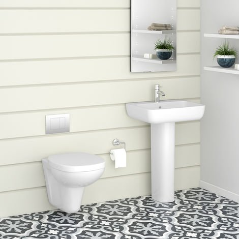 Ancona Wall Hung Toilet & Basin Cloakroom Suite