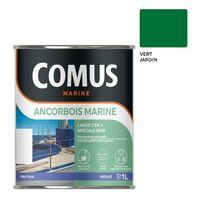 ANCORBOIS MARINE VERT JARDIN 1L Laque marine microporeuse pour la protection et la décoration des bois et dérivés, neufs ou anciens