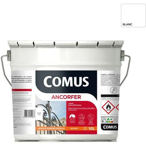 ANCORFER BRILLANT 10L Blanc sécurité - Peinture-laque antirouille pour métaux et autres supports - COMUS