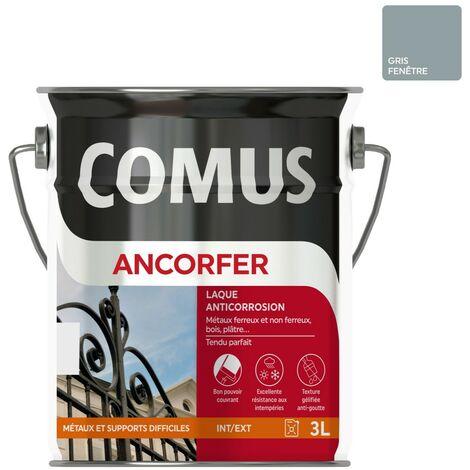 ANCORFER BRILLANT 3L Gris fenêtre - Peinture-laque antirouille pour métaux et autres supports - COMUS