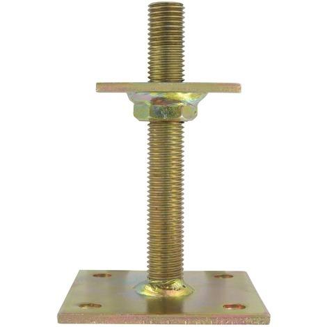 """Ancre de poteau en """"U"""" à platine hauteur réglable Alberts - Hauteur Variable de 30 à 150 mm"""