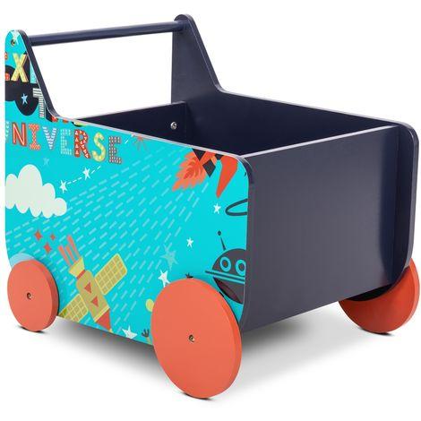 Andador bebe madera azul carrito infantil con espacio almacenaje para juguetes
