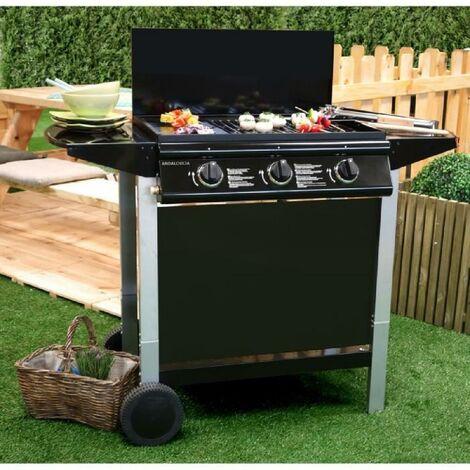 GRILL GARDEN Barbecue gaz 5 brleurs – Fonte maille – 66 x 39