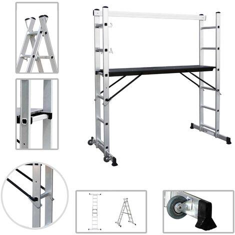 Andamio, Escalera Multiusos, 168 x 160 x 45 cm, EN 131, Carga máxima: 150 kg
