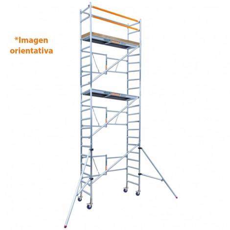 Andamio plegable aluminio 135x190 y 7,50 mts altura de trabajo