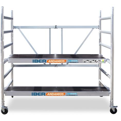 Andamio plegable aluminio 90x190 con plataforma extra de 30 multiposición y plataforma con trampilla