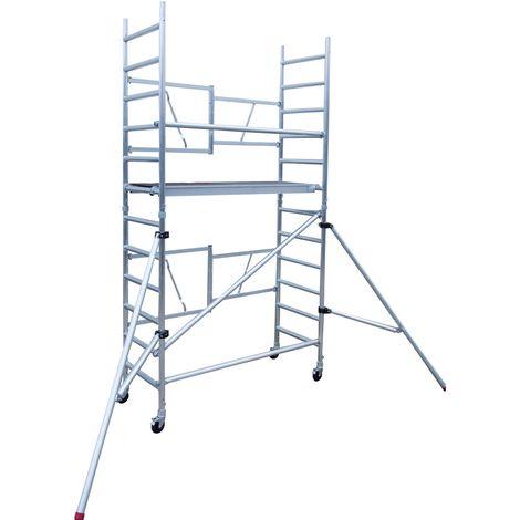 Andamio plegable aluminio, altura de trabajo 4.70 m con estabilizadores