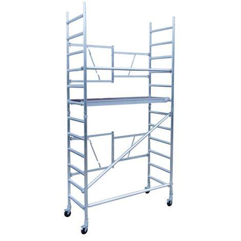 Andamio plegable aluminio, altura de trabajo 4.70 m sin estabilizadores