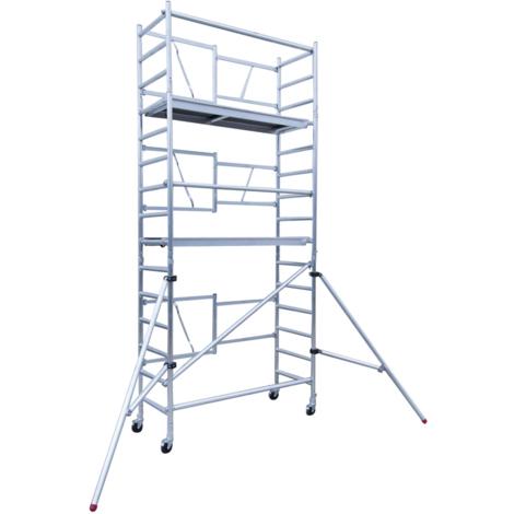 Andamio plegable aluminio, altura de trabajo 5.70 m