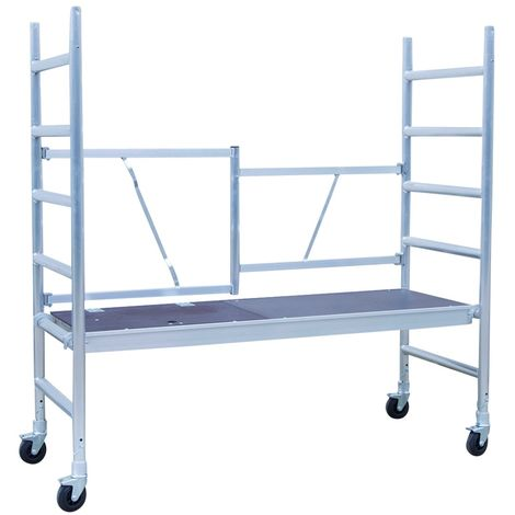 Andamio plegable aluminio con plataforma con trampilla, altura de trabajo 3 m