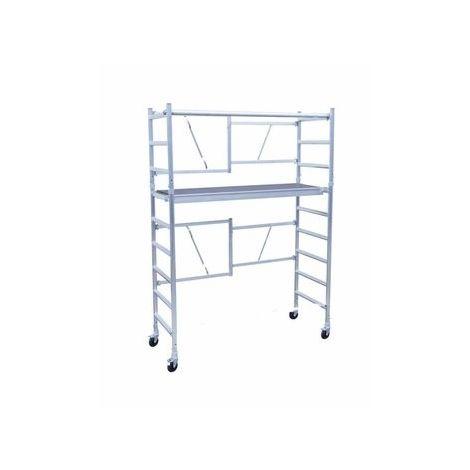 Andamio plegable aluminio con plataforma con trampilla, altura de trabajo 4 m
