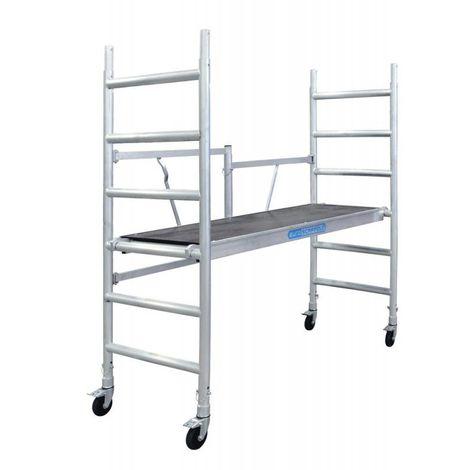 Andamio plegable aluminio con plataforma sin trampilla, altura de trabajo 3 m