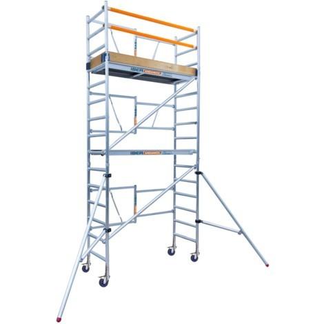 Andamio plegable de aluminio profesional IBERANDAMIOS altura de trabajo 5,70 m con rodapiés