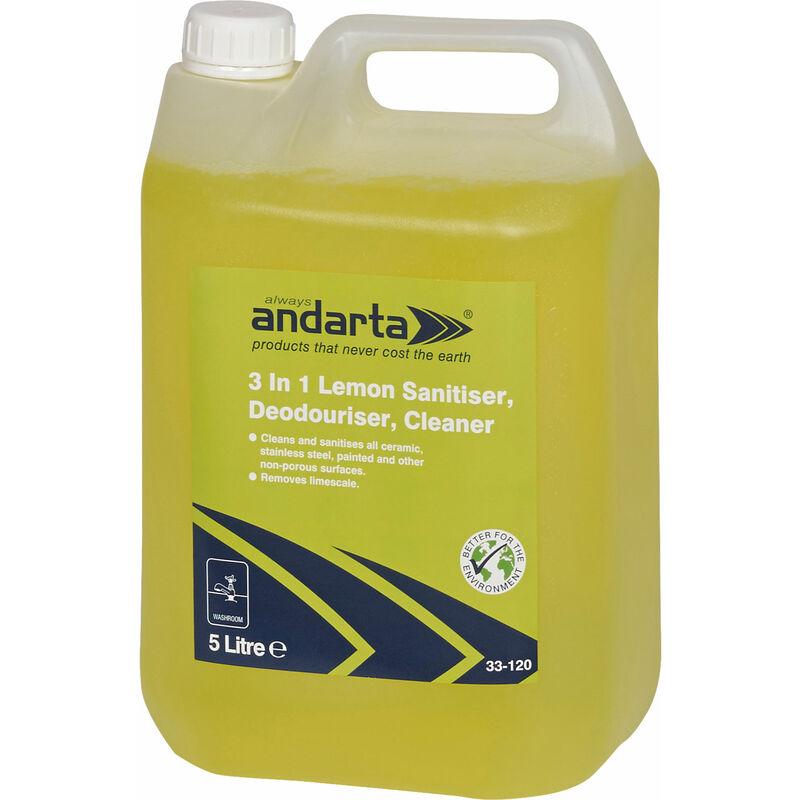 Image of 33-120 3 in 1 Lemon Sanitiser Deodouriser Cleaner 5L - Andarta