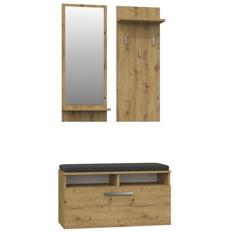 ANDERS - Meuble d'entrée contemporain avec coussin 85x46x35 cm - Banc de Rangement à Chaussures - Avec miroir - Chêne