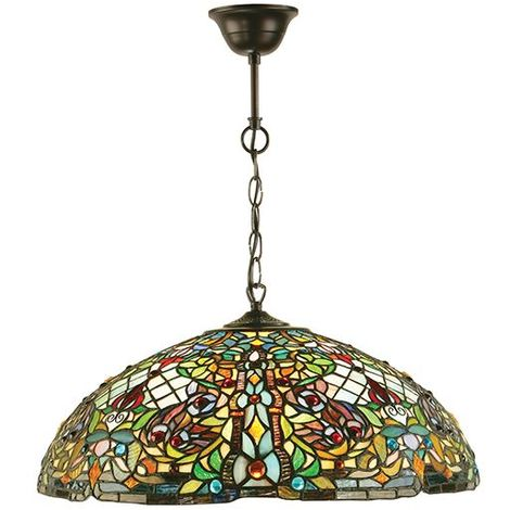 Anderson Large Tiffany Style 3Lt Ceiling Pendant Light 60W
