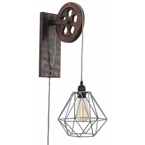 Anderton Industrial Metal Rise & Fall Wheel Wall Light