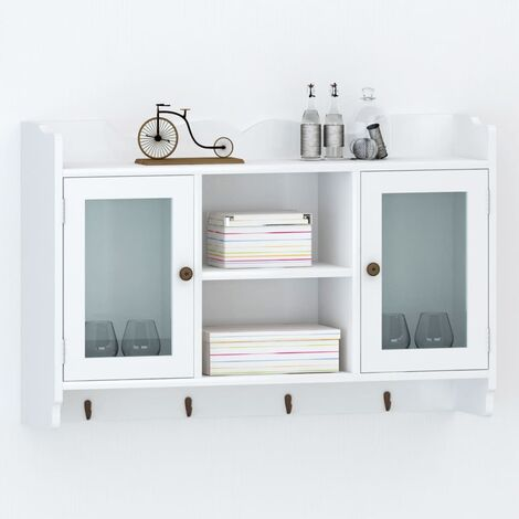 """main image of """"Anderton Wall Mounted Display Cabinet by Bloomsbury Market - White"""""""