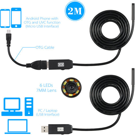 Android phone endoscope pipe inspection mirror USB external camera