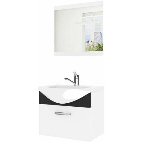 ANEA | Ensemble meubles salle de bain 3 pcs 50 cm | Miroir + Lavabo + Meuble sous lavabo | Vasque céramique - Blanc/Noir
