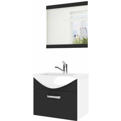 ANEA | Ensemble meubles salle de bain 3 pcs 50cm | Miroir + Lavabo + Meuble sous lavabo | Vasque céramique - Noir/Blanc