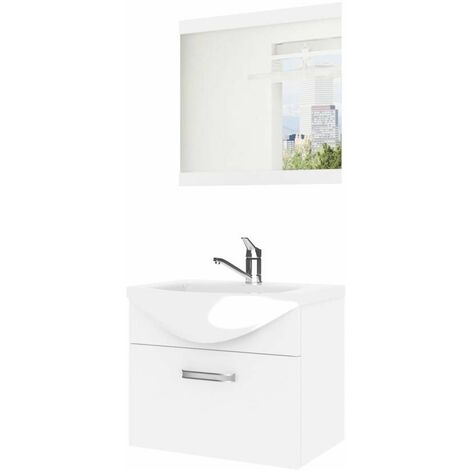 ANEA | Ensemble meubles salle de bain 3 pièces 50 cm | Miroir + Lavabo + Meuble sous lavabo | Vasque céramique - Blanc