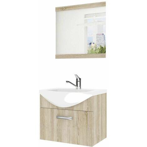 ANEA | Ensemble meubles salle de bain 3 pièces 50cm | Miroir + Lavabo + Meuble sous lavabo | Vasque céramique - Sonoma