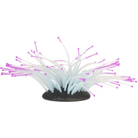 Anemona luminosa artificial, decoracion de paisaje de pecera, S, purpura