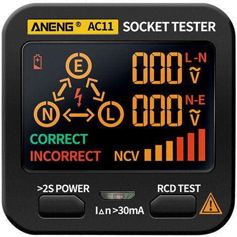 ANENG AC11 Testeur de prise LCD a affichage numerique Fil de terre Fil neutre Fil d'incendie Fil d'incendie Detecteur de fuite de polaritede phase Livraison standard europeenne sans batterie