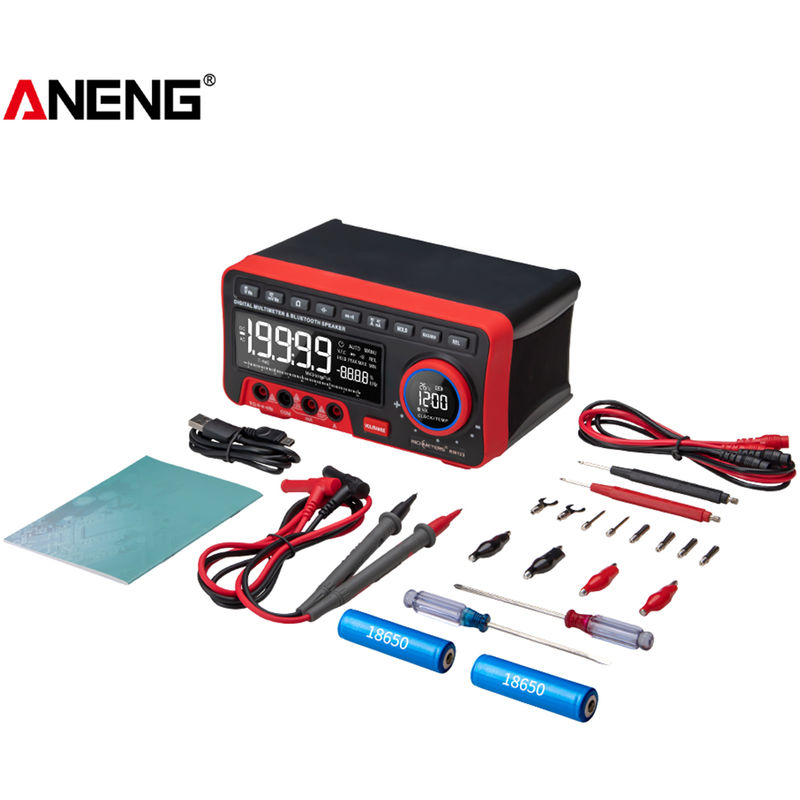 Image of ANENG AN888S BT Audio Multimeter Multifunction Digital Display Voltage Current Meter, Red , Test Probe Kit and Batteries
