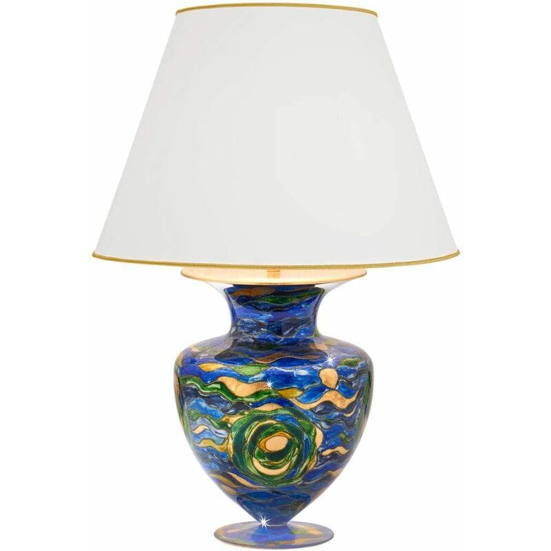 Image of 14-kolarz - ANFORA 24K Gold Table Lamp 1 Light Aqua Blue