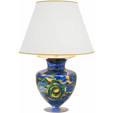ANFORA 24K Gold Table Lamp 1 Light Aqua Blue