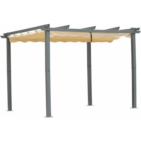 Angel Living® Pérgola de Aluminio con Techo Retráctil, Cenador con Tela de Poliéster Resistente al Agua y a UV, Uso para el Exterior (3x3M)