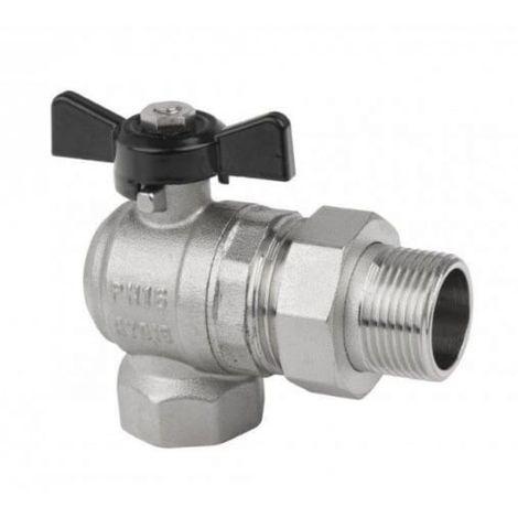 Angle ball valve with 3/4 gland half-union