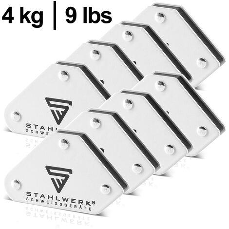 Angle de soudure magnétique STAHLWERK avec une force d'adhésion de 4 kg / 9 lbs chacun dans un ensemble pratique de 8