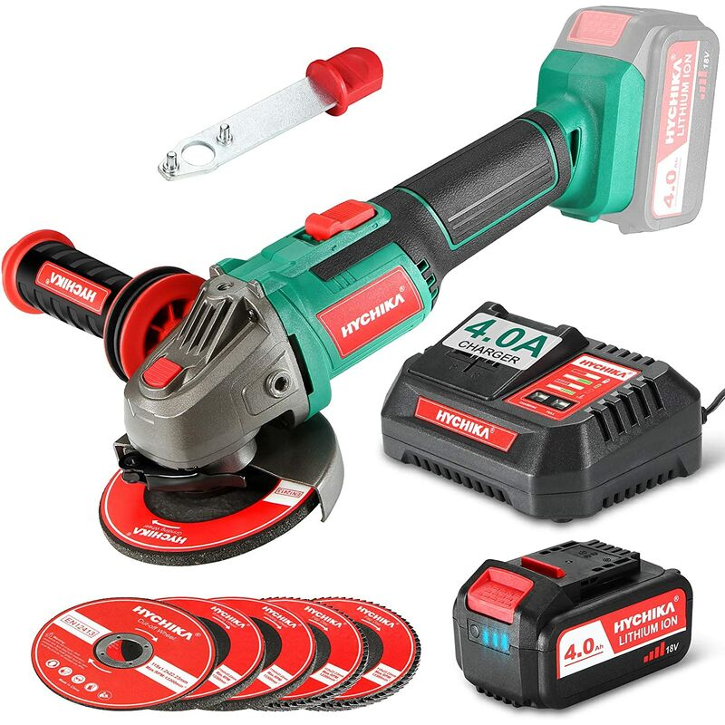 Image of Angle Grinder 18V 4.0Ah Fast Charge Cordless Grinder Tool with 5 Pcs 115mm Grinder Disc 8500RPM, 3-Position Adjustable Handle, Powered by Lithium-ion