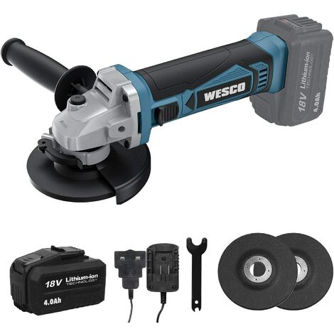 """main image of """"Angle Grinder, WESCO 18V 4.0Ah Cordless Angle Grinder, 8000 RPM Motor, 3 Metal Grinding Discs Ø: 115mm, with Additional Handle, Battery and Charger, Ideal for Carpenters, Builders, Electricians/WS2941.1"""""""
