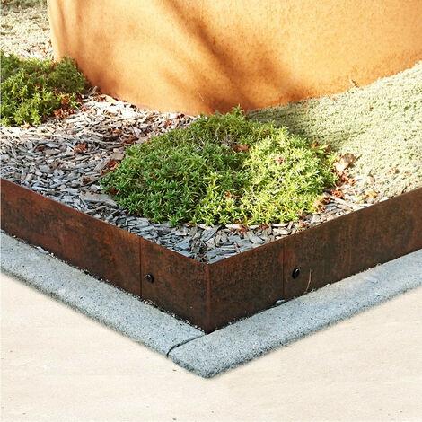 Angle pour bordure droite en acier corten brut Hauteur bordure-costière:100 mm - Épaisseur bordure, angle, costière:3 mm - Sens de l'angle:Extérieur - Degré de l'angle:90°
