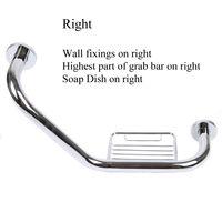 Angled Grab Bar & Soap Basket Chrome Safety Grab Rail Handle Right Side