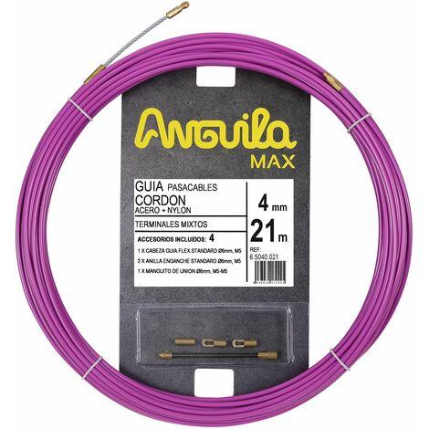 Anguila guia pasacables cordon acero + nylon morado 4mm 21m con terminales mixtos incluidos