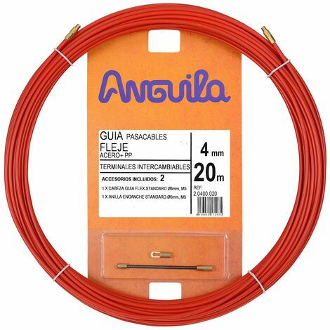 Anguila guia pasacables fleje de acero + propileno rojo 4mm 20m con terminables intercambiables incluidos