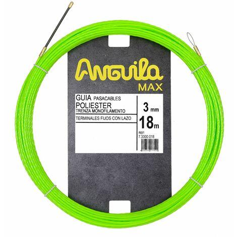 Anguila guia pasacables poliester trenza monofilamento verde 3mm 18m con terminales fijos con lazo incluidos