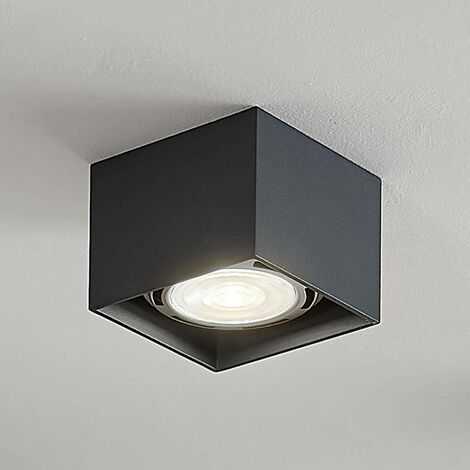 Angular LED ceiling spotlight Mabel, dark grey