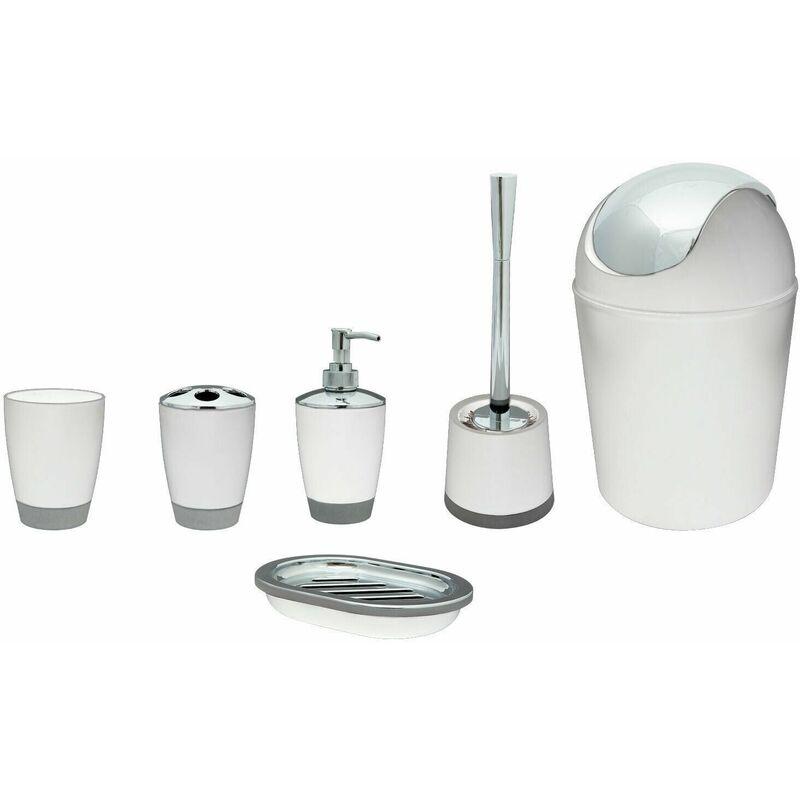 Image of 6pcs Bathroom Accessory Set Including Bin, White - Anika